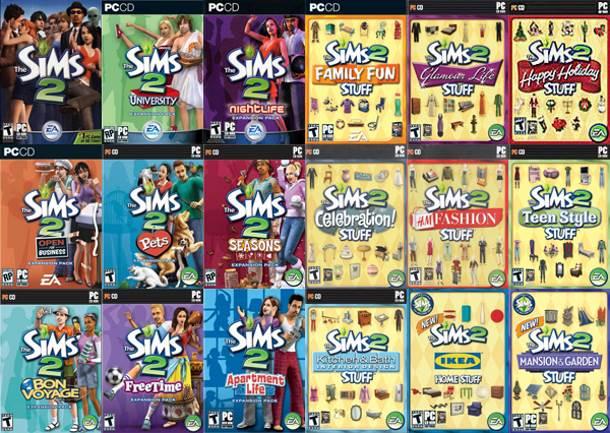 El juego básico de Los Sims 2 y todas sus expansiones. Esto es la Colección Definitiva.